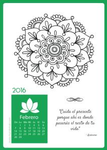 calendario mandala febrero para imprimir