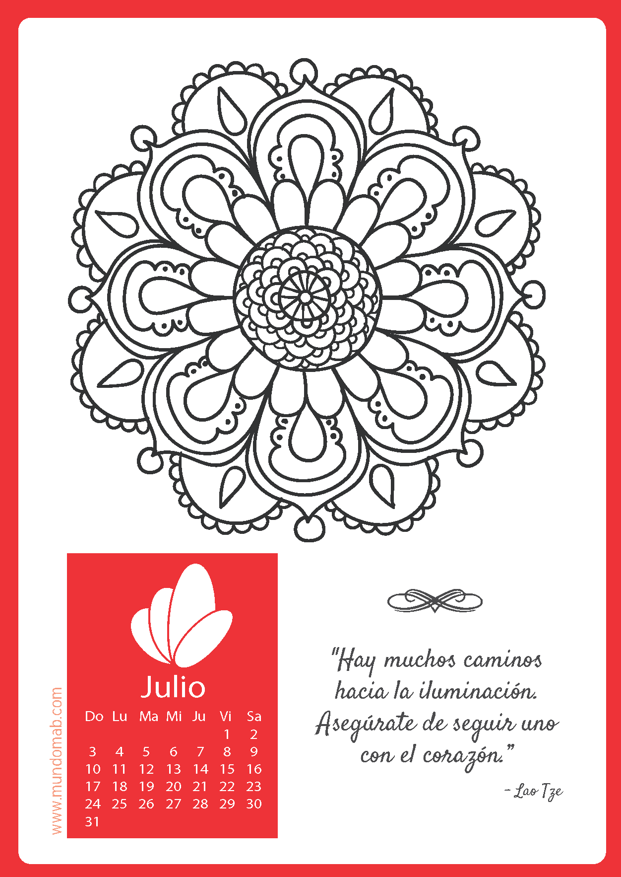 Calendario Mandala 2016 para Imprimir Gratis
