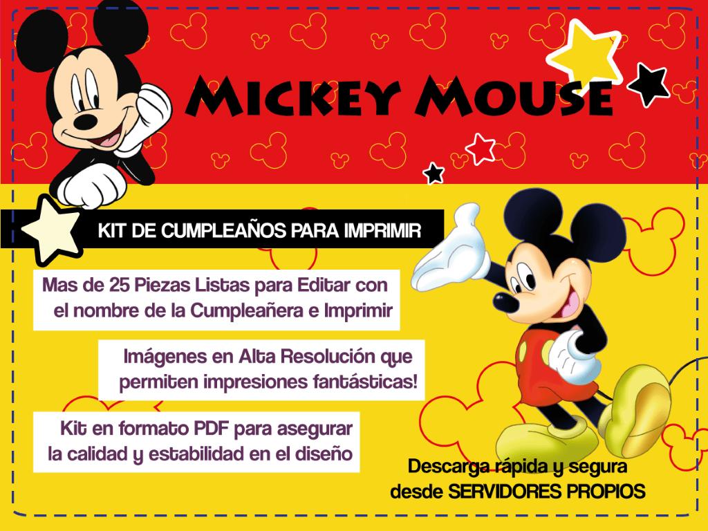 Mickey Mouse: Invitaciones Para Imprimir