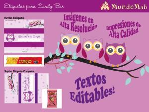 etiquetas candy bar lechuzas para imprimir