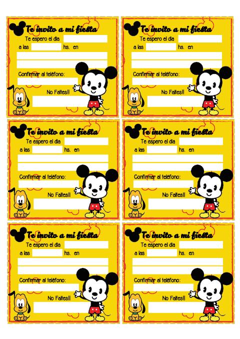 mickey invitaciones para imprimir