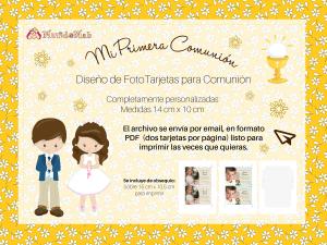 tarjetas con foto para primera comunion