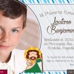 diseño de tarjeta de comunion para niño