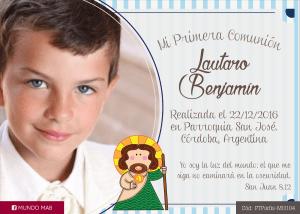 comunion tarjeta con foto para nene