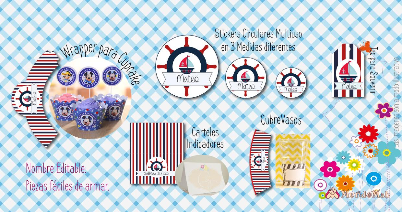 cotillon motivo marineros para cumpleaños