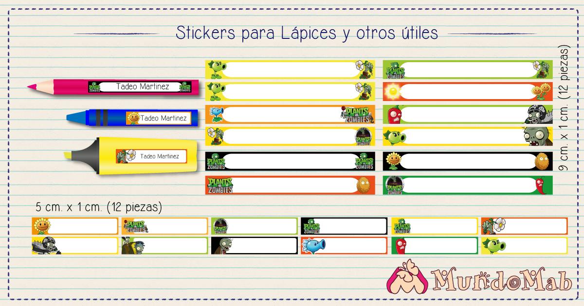stickers para lapices plantas vs zombies