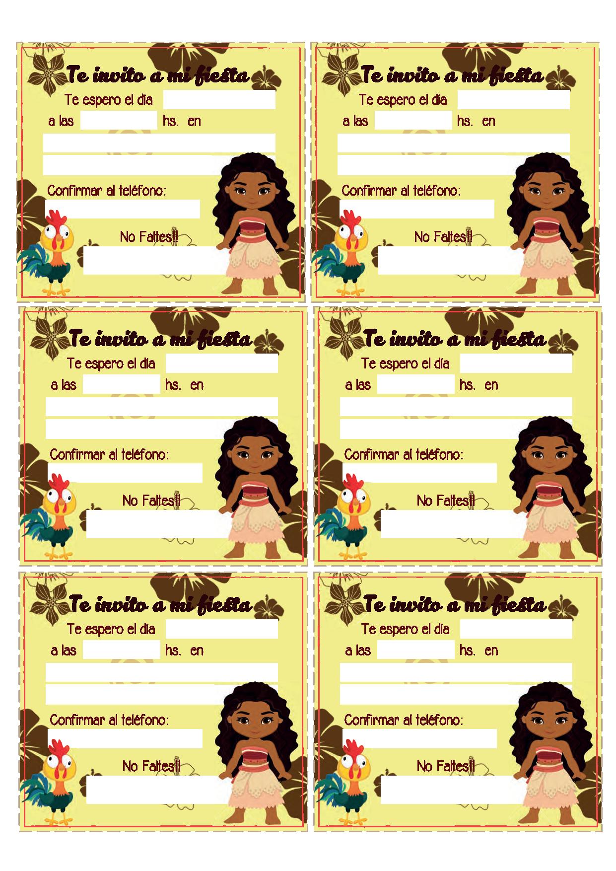 invitaciones de cumpleaños de moana
