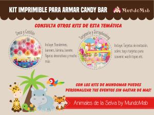 candy bar de animales de la selva