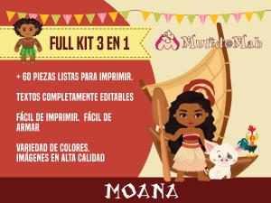 Tres kits imprimibles de Moana para cumpleaños