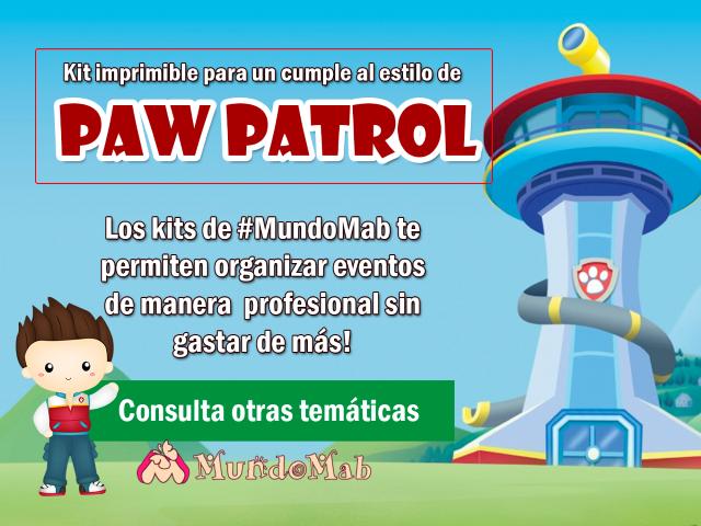 set de cumpleaños para imprimir de paw patrol