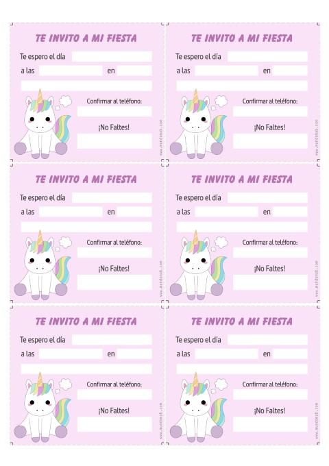 Invitaciones de Unicornios para imprimir